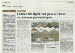 La Voix du Nord - septembre 2012 : La centrale solaire Lilloise mise en place par sunelis