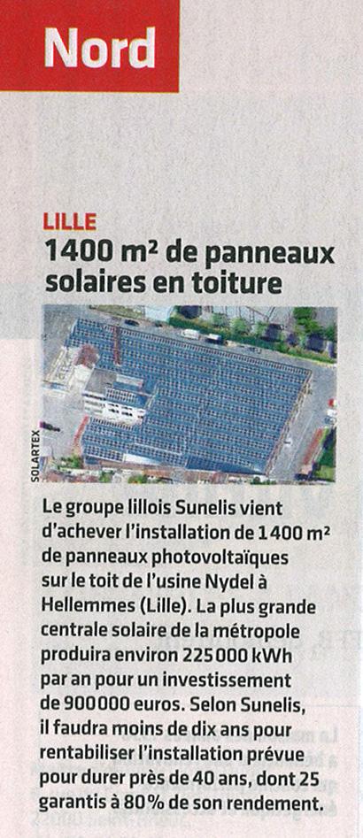1400 m² de panneaux solaires sur la toiture de la plus grosse centrale solaire de Lille